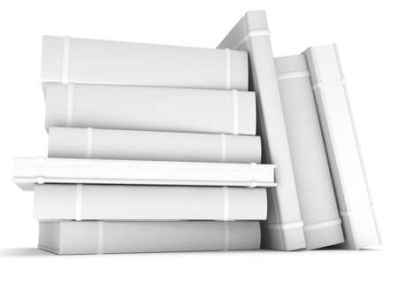 Blank books cover over white background. 3D render. Studing illustration. Back to school. Stock Photo