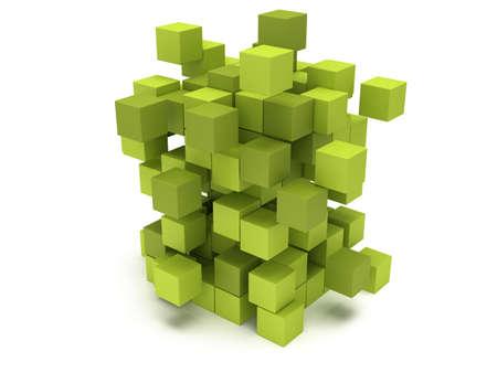 Explosion Cubes block. Architecture assembling concept. Teamwork Business. 3D render icon.