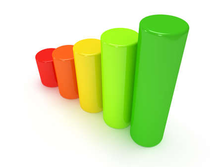 cylindrical: 3d colored cylindrical bar graph on white.  Green, yellow, orange, red colors. Progress, business concept.
