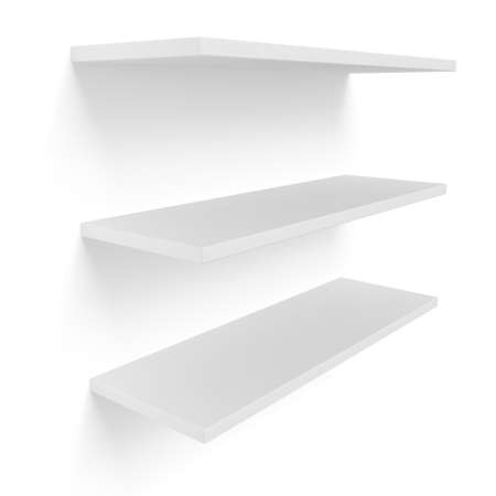 3D three empty blank shelves on white. Template Stock Photo