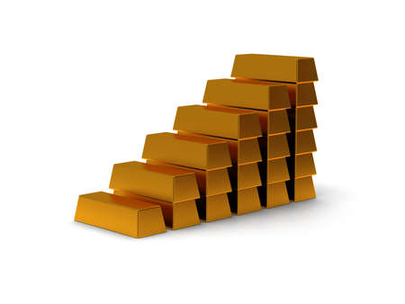 exponential: business graph of gold bars 3d render on white back
