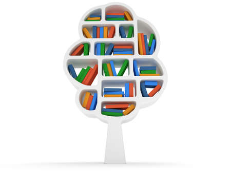 allegory painting: Tree of knowledge. 3d Bookshelf on white background. Studying illustration.