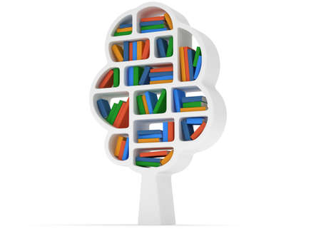guidebook: Tree of knowledge. 3d Bookshelf on white background. Studying illustration.