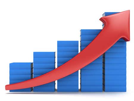 3d blau Stapel Bücher Balkendiagramm mit roten Pfeil aufwachsen auf weiß. Wachsen, Diagramm, Business-Statistik zurück studing für die Schulbildung Konzept