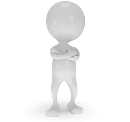 folded hands: 3d white man stand with folded arms. Render isolated on white. People, business concept. Stock Photo