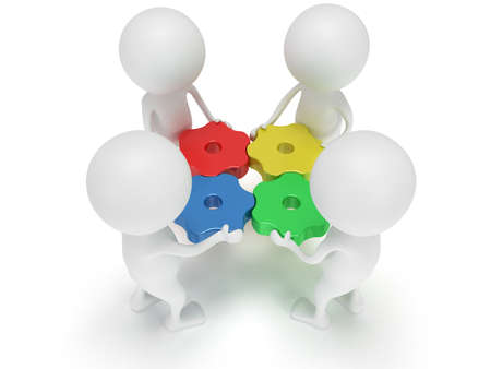 3d color gears and people on white background. Business, teamwork, assembling concept. photo