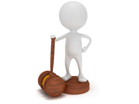 3D man satand with wooden gavel. Judge, Law, Auction, Business concept. 3d Render. Isolated white background.