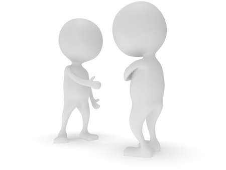 folded arms: 3d two white people do not shake hands. Render isolated on white. Handshake, folded arms, business, teamwork, partnership concept.