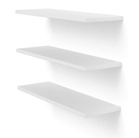 three shelves: 3D three empty blank shelves on white. Template Stock Photo