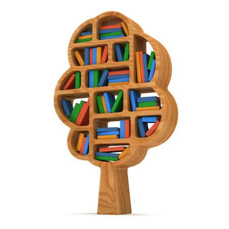 Tree of knowledge. 3d Bookshelf on white background. Studing illustration.