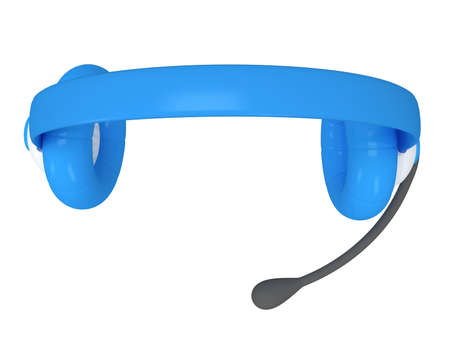 View of one blue headset - 3d render. Music, call center, phone, hands free concept. photo