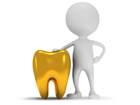 3d white man standing next to tooth. Render isolated on white. Medical, dental concept.
