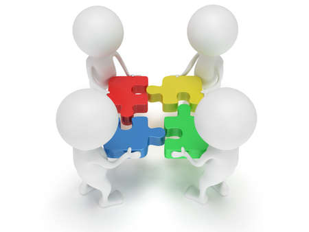 3D-Color-Puzzle und Menschen auf weißem Hintergrund. Business, Teamarbeit, Montage-Konzept. Lizenzfreie Bilder