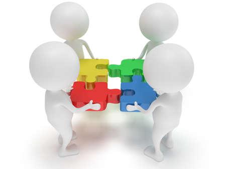 3D-Color-Puzzle und Menschen auf weißem Hintergrund. Business, Teamarbeit, Montage-Konzept. Standard-Bild