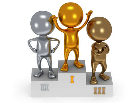 Winners on sports podium for the first, second and third place isolated on white. Stylized metal people raise hands up.  3D render. photo