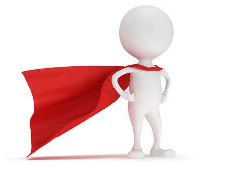 3d 남자 - 빨간 망토와 용감한 슈퍼 히어로. 흰색에 고립
