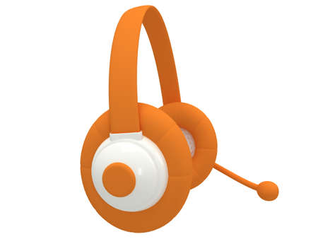 View of one orange headset - 3d render. Music, call center, phone, hands free concept. photo