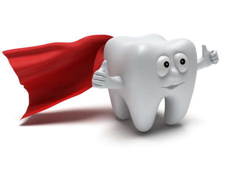 Cute healthy superhero tooth with hands shows thumbs up and red cloak isolated on white background. 3D render. Dental, medicine, health, like concept. photo