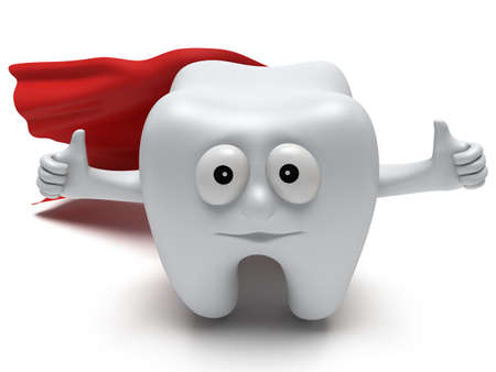 Cute healthy superhero tooth with hands shows thumbs up and red cloak isolated on white background. 3D render. Dental, medicine, health, like concept. Stock Photo