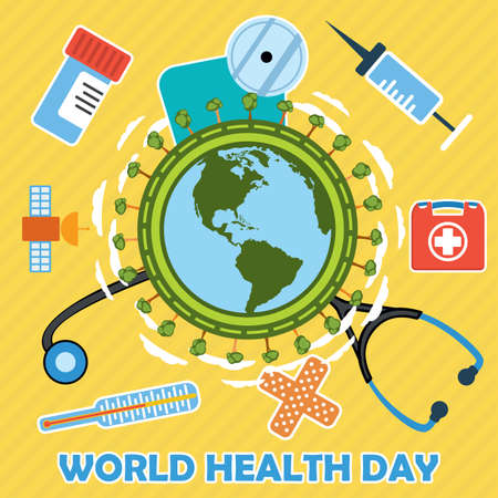 first day: World health day concept with earth globe. First aid kit, medicine and healthcare concept. Flat vector illustration with icons.