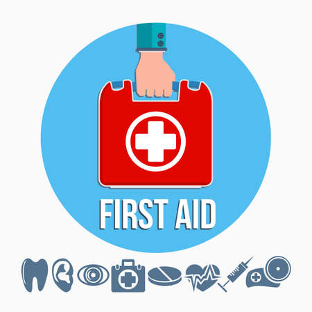 First aid kit concept with hand holding medicine chest with cross and healthcare icons flat vector illustration Vector