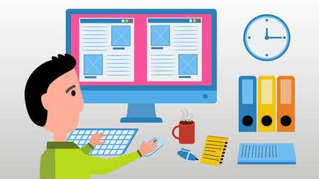 concepteur web: Web designer travail sur ordinateur dans le site de construction. Bureau concept d'espace. Vector illustration avec l'homme, �cran, horloge, aux fichiers et tasse de caf� chaud. Illustration