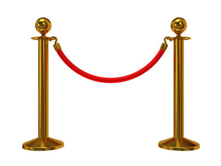 velvet rope: Golden rope barrier - 3d render. Fence with red rope isolated on white. Luxury, VIP concept Stock Photo