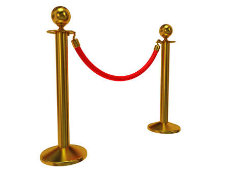 Golden touw barrière - 3d render. Hek met rode touw geïsoleerd op wit. Luxe, VIP-concept