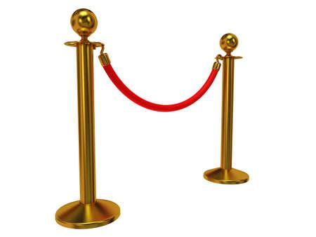 Goldene Seil Barriere - 3d Render. Zaun mit roten Seil isoliert auf weiß. Luxus, VIP-Konzept