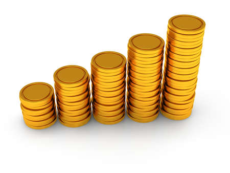 3d schedule. Pile of golden coin as stairs 3d render isolated on white background Stock Photo