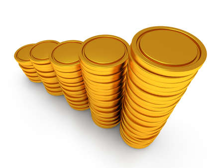 rouleau: 3d schedule. Pile of golden coin as stairs 3d render isolated on white background Stock Photo