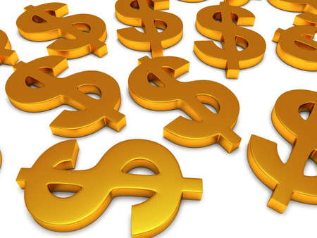 rouleau: Golden dollar signs on white. 3d render isolated on white background. Money, rich, business concept
