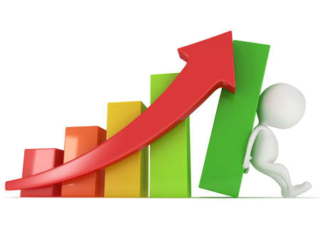3D colored bar graph with red arrow and white businessman who helps statistics grow up