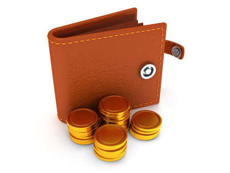 brown leather: 3d render of open brown leather wallet and coins over white background
