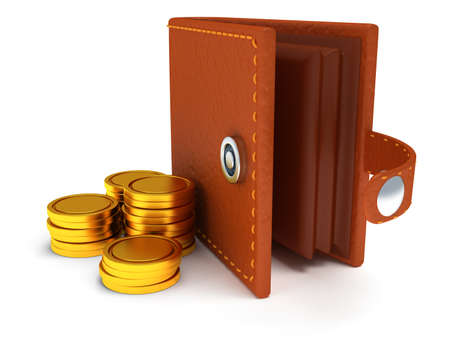 empty wallet: 3d render of open brown leather wallet and coins over white background