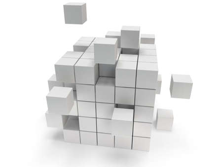 Cubes block. Assembling concept. Teamwork Business On white background. 3D render icon.