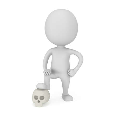 pathetic: 3d man with skull isolated on white
