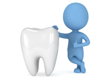 3d blue man stand near tooth with thumbs up. Render isolated on white. Medical dental concept