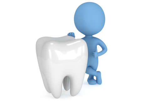 blue man: 3d blue man stand near tooth with thumbs up. Render isolated on white. Medical dental concept