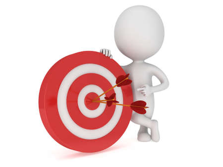 3D Mann stand in der Nähe roten Ziel Ziel mit drei Pfeilen. Ziel, Glück, Strategie, Spiel, Business-Konzept.
