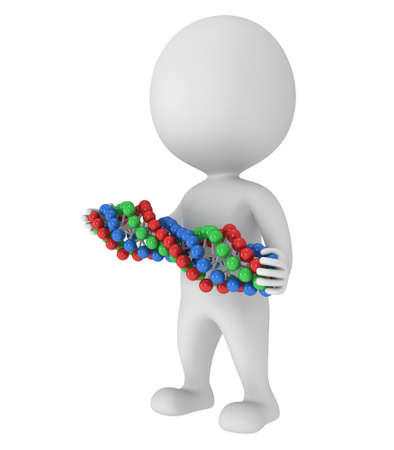 genome: 3D man with DNA chain on white. 3D render. Medicine, healthcare, genome concept Stock Photo