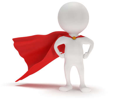 pathetic: 3d man - brave superhero with red cloak. Isolated on white