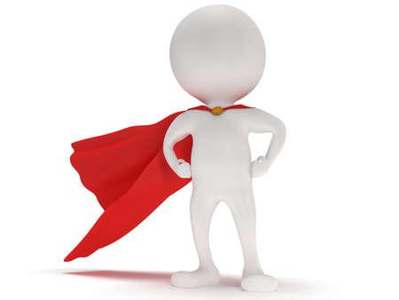 3 d の男 - 赤いマントと勇敢なヒーロー。白で隔離 写真素材
