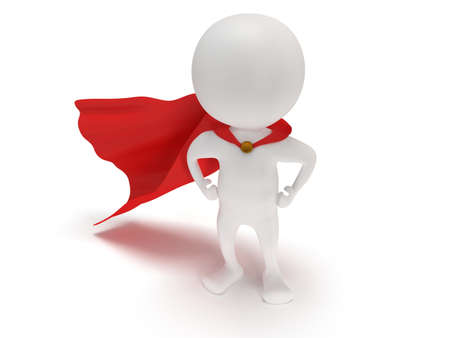 cloak: 3d man - brave superhero with red cloak. Isolated on white