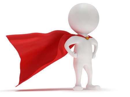 3d man - brave superhero with red cloak. Isolated on white