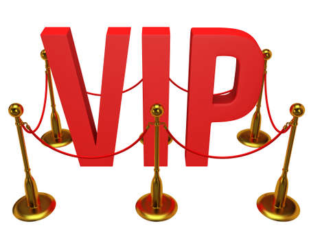 notability: Huge 3d letters VIP and golden rope barrier isolated on white 3d render. Very important person concept.