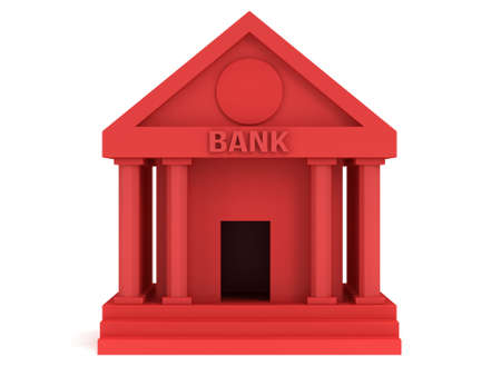 public market sign: Red Bank building. 3D render icon isolated on white. Finance and credit concept.