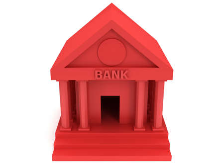 headquarter: Red Bank building. 3D render icon isolated on white. Finance and credit concept.