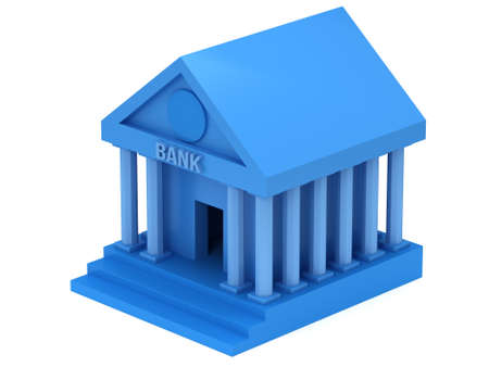 headquarter: Blue Bank building. 3D render icon isolated on white. Finance and credit concept. Stock Photo
