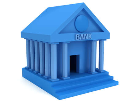 public market sign: Blue Bank building. 3D render icon isolated on white. Finance and credit concept. Stock Photo